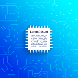 Electronic device circuit board bright blue background poster vector illustrationのイラスト素材 [FYI03091504]