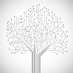 Abstract computer technology integrated circuit board tree symbol emblem or poster vector illustratiのイラスト素材 [FYI03091505]