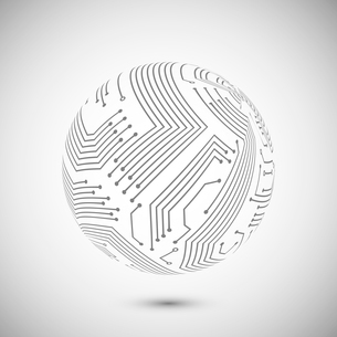 Abstract electronic devices or computer circuits global network sphere emblem poster vector illustraのイラスト素材 [FYI03091506]