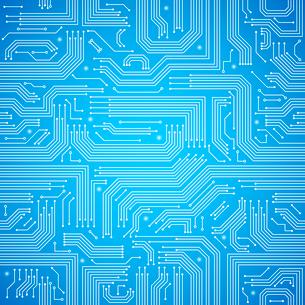 Computer circuit board bright blue seamless pattern vector illustrationのイラスト素材 [FYI03091507]