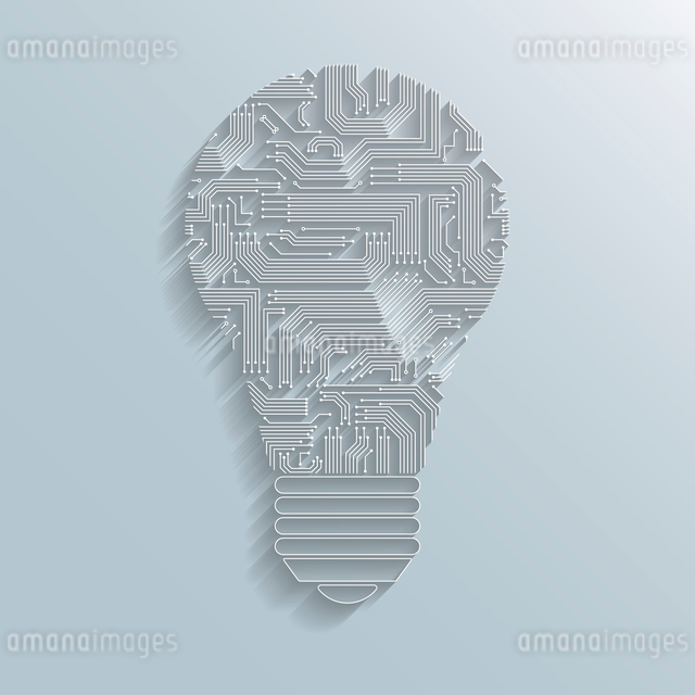 Abstract electronic computer circuit board light bulb icon or emblem isolated vector illustrationのイラスト素材 [FYI03091508]