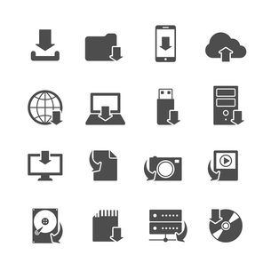 Internet download symbols collection for computer and mobile electronic devices black icons set isolのイラスト素材 [FYI03091509]