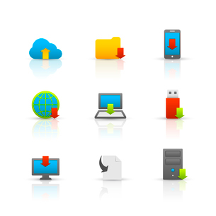 Internet download symbols collection for computer and mobile electronic devices glossy pictograms seのイラスト素材 [FYI03091510]