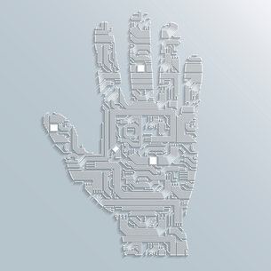 Electronic computer technology circuit board hand shape background or emblem isolated vector illustrのイラスト素材 [FYI03091511]