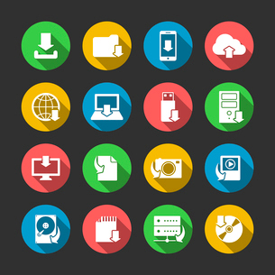 Internet download symbols collection for computer and mobile electronic devices flat icons set in ciのイラスト素材 [FYI03091512]