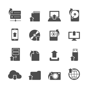 Internet upload symbols collection for computer and mobile electronic devices black icons set isolatのイラスト素材 [FYI03091513]
