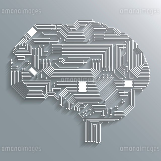 Electronic computer technology circuit board brain shape background or emblem isolated vector illustのイラスト素材 [FYI03091514]