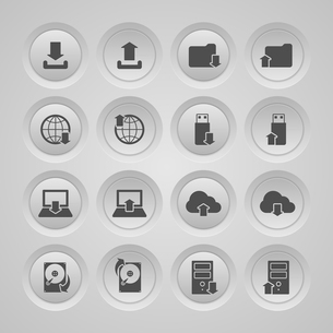 Upload download symbols collection user interface computer mobile icons set flat isolated vector illのイラスト素材 [FYI03091516]