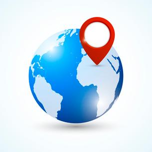 World earth globe with navigation pin symbol emblem vector illustrationのイラスト素材 [FYI03091520]