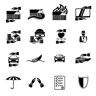 Insurance security icons set of healthcare auto car real estate safety isolated vector illustrationのイラスト素材 [FYI03091522]