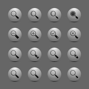 Magnify lens search zoom exploration buttons icon set isolated vector illustrationのイラスト素材 [FYI03091524]