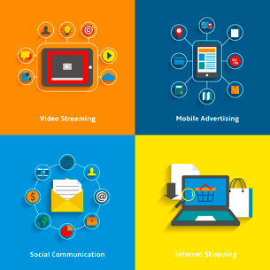 E-commerce decorative icons set of video streaming mobile advertising social networking and internetのイラスト素材 [FYI03091526]