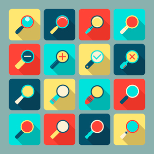 Magnifier lens scientific and support optical tool flat icon set vector illustrationのイラスト素材 [FYI03091527]