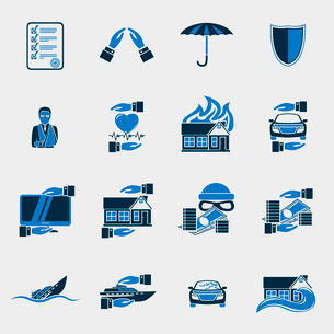 Insurance security icons set of agent company finance  isolated vector illustrationのイラスト素材 [FYI03091528]