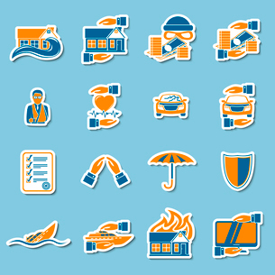 Insurance security stickers collection of medical property house protection  isolated vector illustrのイラスト素材 [FYI03091531]