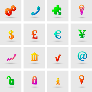 Business icons set for finance marketing isolated vector illustrationのイラスト素材 [FYI03091538]