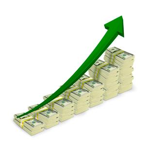 Money banknotes stacks rising graph with upward arrow vector illustrationのイラスト素材 [FYI03091539]