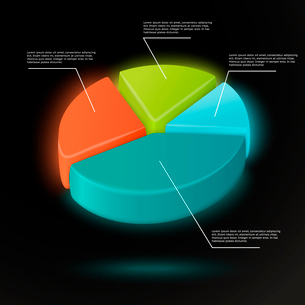 3d pie chart infographics template with data labels vector illustrationのイラスト素材 [FYI03091544]