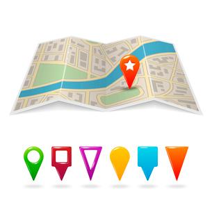 Travel city road street map with navigation pin symbols vector illustrationのイラスト素材 [FYI03091548]