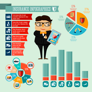 Businessman hipster boy insurance company agent infographic presentation design elements with iconsのイラスト素材 [FYI03091549]