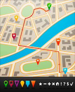 City street route map with navigation icons and  symbols vector illustrationのイラスト素材 [FYI03091550]