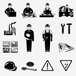 Engineering construction and industrial icons set of project work symbols vector illustrationのイラスト素材 [FYI03091552]