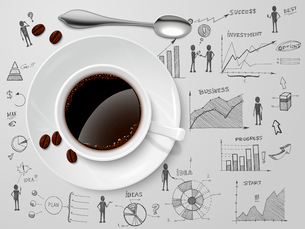 Coffee cup and spoon on business progress idea investment option sketch poster vector illustrationのイラスト素材 [FYI03091553]