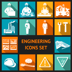 Engineering construction and industrial icons set of working industry and equipment symbols vector iのイラスト素材 [FYI03091555]