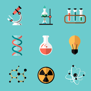 Chemistry bio technology science flat icons set of molecule nuclear power and microscope for schoolのイラスト素材 [FYI03091556]