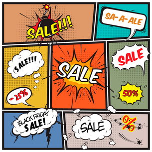 Comics best offer sale promotion bubbles on strip background vector illustrationのイラスト素材 [FYI03091557]