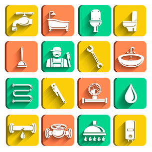 Plumbing tools icons set of plumber wrench bathroom and water leak isolated vector illustrationのイラスト素材 [FYI03091560]