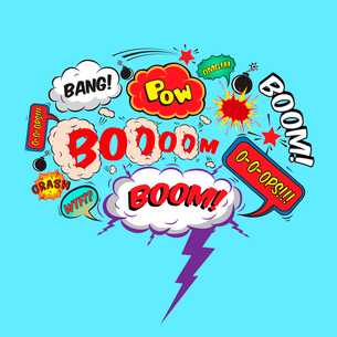 Comic speech bubble design element boom splash bomb symbol vector illustrationのイラスト素材 [FYI03091561]