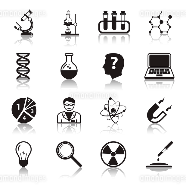 Chemistry or biology science icons set of test tube light bulb atom and pipette for school educationのイラスト素材 [FYI03091562]