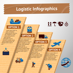Logistic service cardboard infographics elements with transportation options and delivery chain vectのイラスト素材 [FYI03091564]