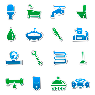 Plumbing tools sticker collection of plumber tools and pipes design elements vector illustrationのイラスト素材 [FYI03091565]