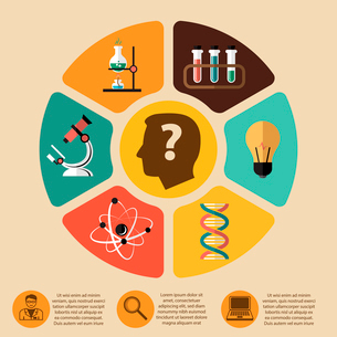 Chemistry bio technology science flat infographics layout design elements for school education preseのイラスト素材 [FYI03091566]
