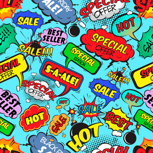 Pop art comic sale seamless pattern with speech bubbles explosions and bombs vector illustrationのイラスト素材 [FYI03091568]