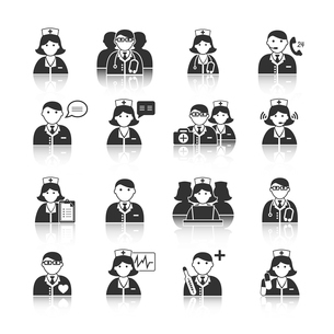 Medicine doctors and nurses icons set for emergency healthcare and hospital isolated vector illustraのイラスト素材 [FYI03091570]