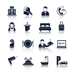 Hotel travel accommodation black pictograms set of room service maid and reception isolated vector iのイラスト素材 [FYI03091571]