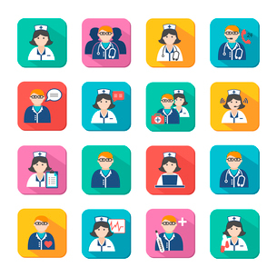 Medicine doctors and nurses icons set for emergency healthcare and hospital isolated vector illustraのイラスト素材 [FYI03091572]