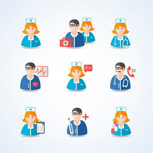 Medicine doctors and nurses icons set for emergency healthcare and hospital isolated vector illustraのイラスト素材 [FYI03091573]