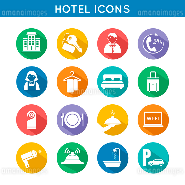Hotel travel accommodation color icons set of restaurant food towel and bed isolated vector illustraのイラスト素材 [FYI03091576]