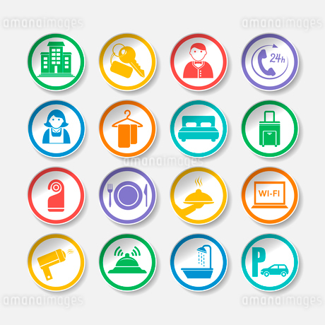 Hotel travel accommodation stickers or labels set isolated vector illustrationのイラスト素材 [FYI03091581]