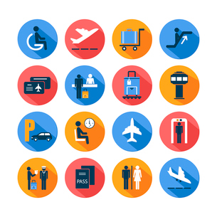 Colored airport transportation flat icons set with staff suitcase lounge cart isolated vector illustのイラスト素材 [FYI03091584]