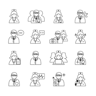 Medicine doctors and nurses icons set for emergency healthcare and hospital isolated vector illustraのイラスト素材 [FYI03091585]