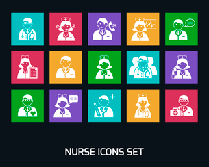 Medicine doctors and nurses icons set for emergency healthcare and hospital isolated vector illustraのイラスト素材 [FYI03091587]
