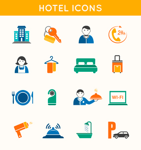 Hotel travel accommodation flat icons set of bath shower key card and luggage isolated vector illustのイラスト素材 [FYI03091588]