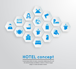Hotel travel accommodation emblem concept with icons blue on white hexagonal shape set isolated vectのイラスト素材 [FYI03091589]