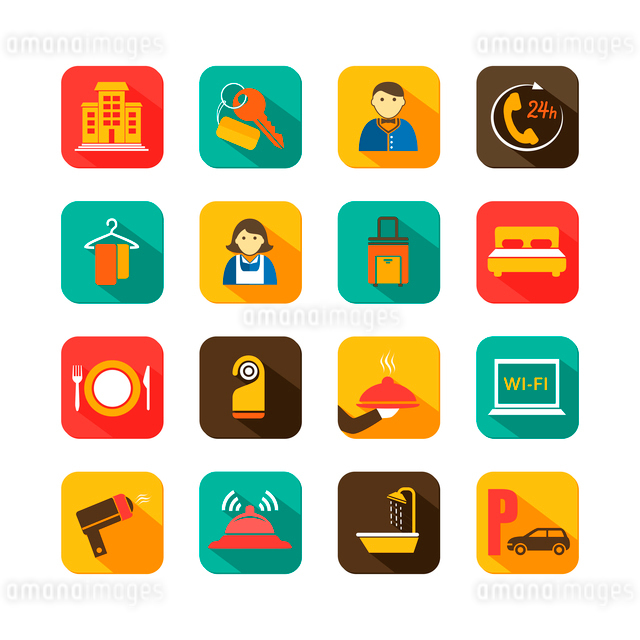 Hotel travel accommodation flat icons set of waiter room service and chambermaid isolated vector illのイラスト素材 [FYI03091590]