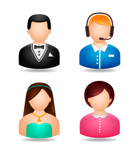 Avatar icons of man and woman in evening cocktail party and casual work wear isolated vector illustrのイラスト素材 [FYI03091594]